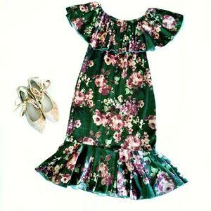 NEW velvet floral cici dress on/off shoulder